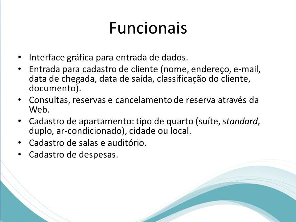 Funcionais Interface gráfica para entrada de dados.