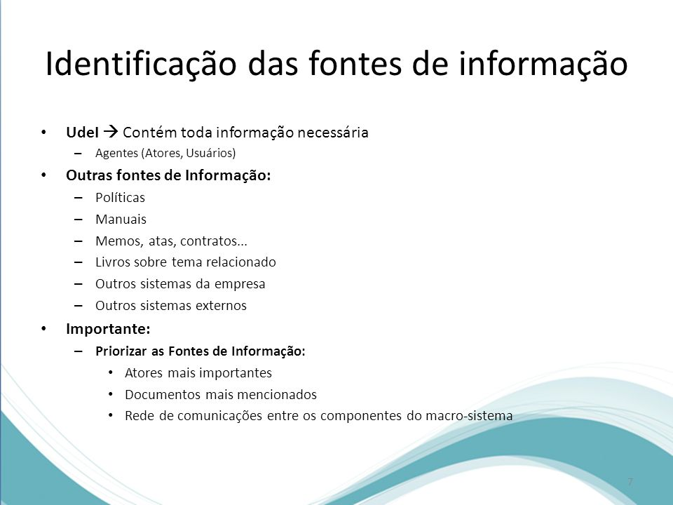 Identificação das fontes de informação