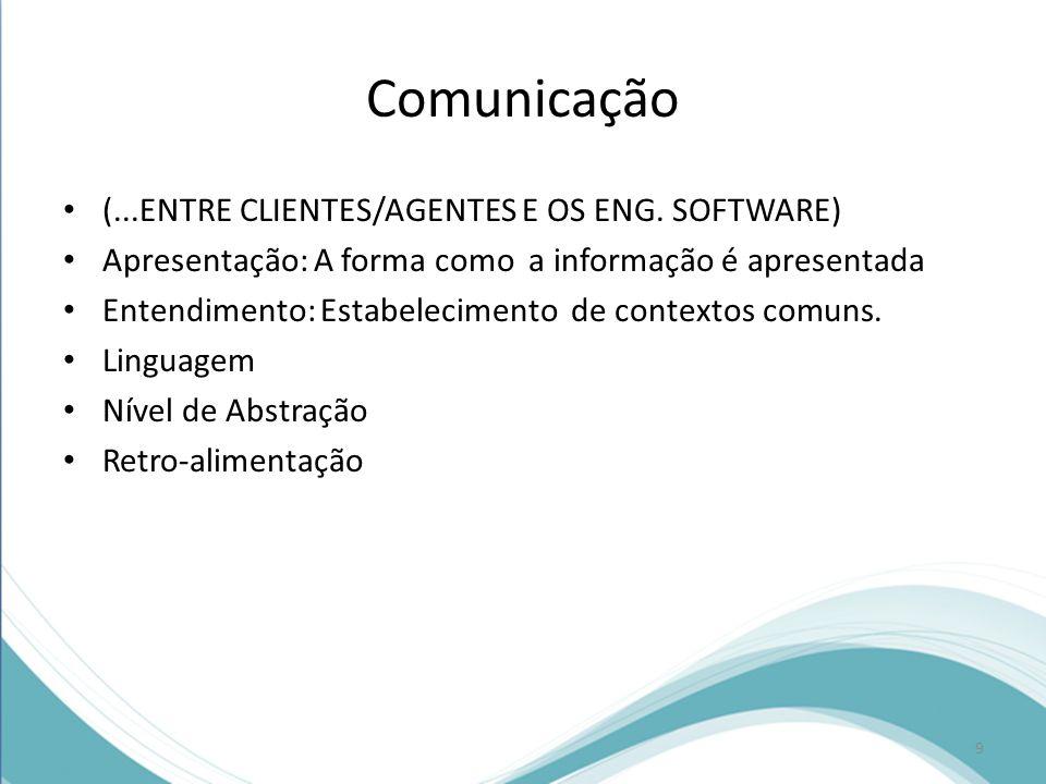 Comunicação (...ENTRE CLIENTES/AGENTES E OS ENG. SOFTWARE)