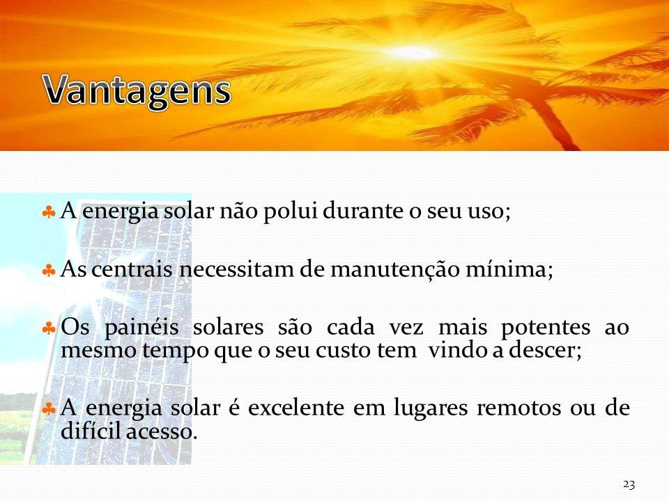 Vantagens A energia solar não polui durante o seu uso;