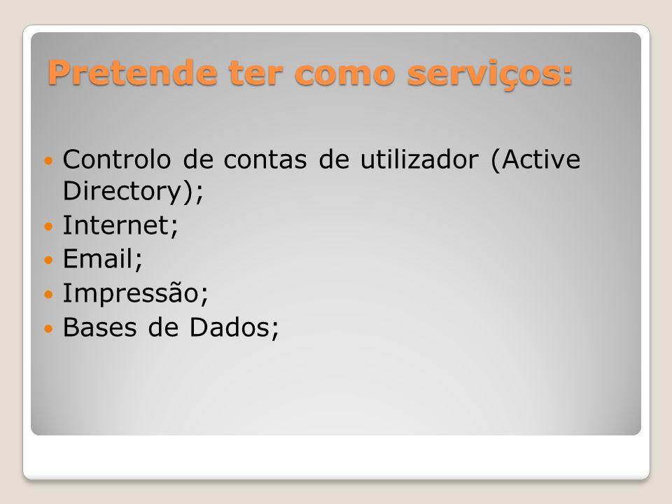Pretende ter como serviços: