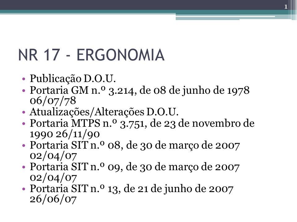 NR 17 - ERGONOMIA Publicação D.O.U.