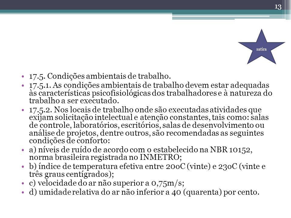 17.5. Condições ambientais de trabalho.