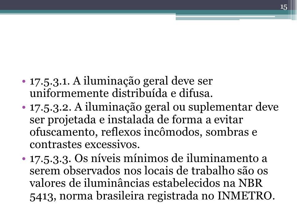 17.5.3.1. A iluminação geral deve ser uniformemente distribuída e difusa.