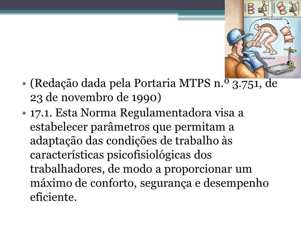 (Redação dada pela Portaria MTPS n.º 3.751, de 23 de novembro de 1990)