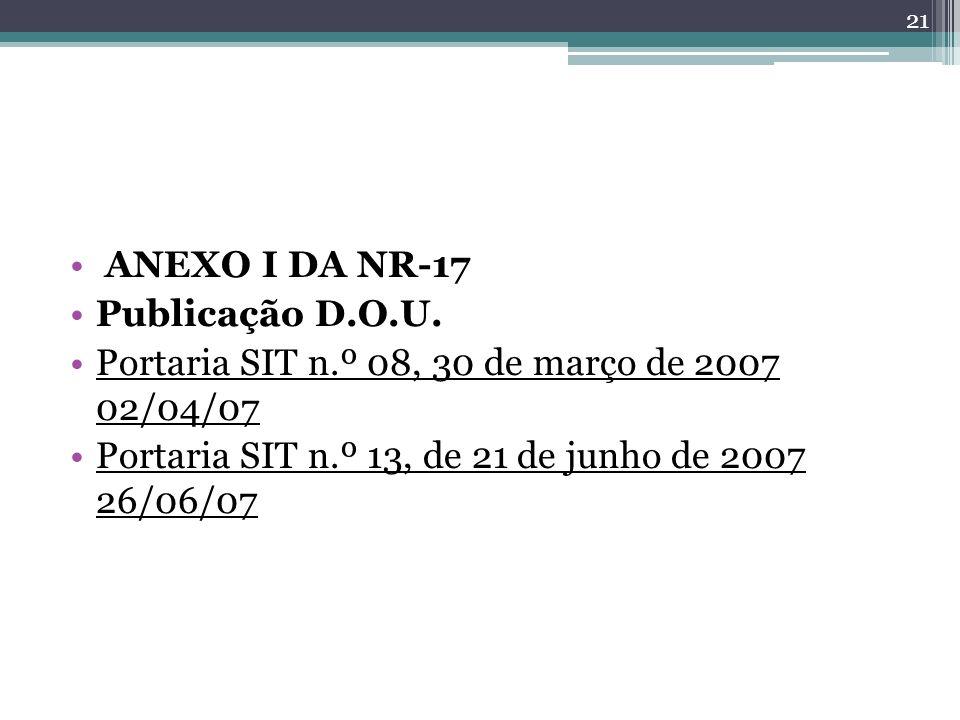 ANEXO I DA NR-17 Publicação D.O.U. Portaria SIT n.º 08, 30 de março de 2007 02/04/07.
