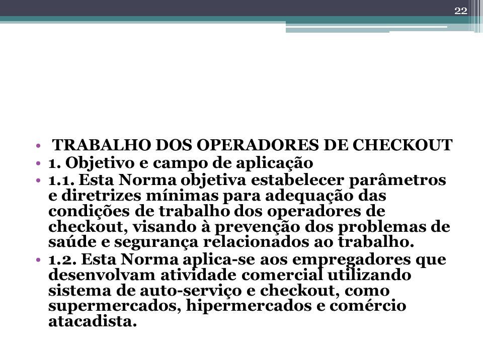 TRABALHO DOS OPERADORES DE CHECKOUT