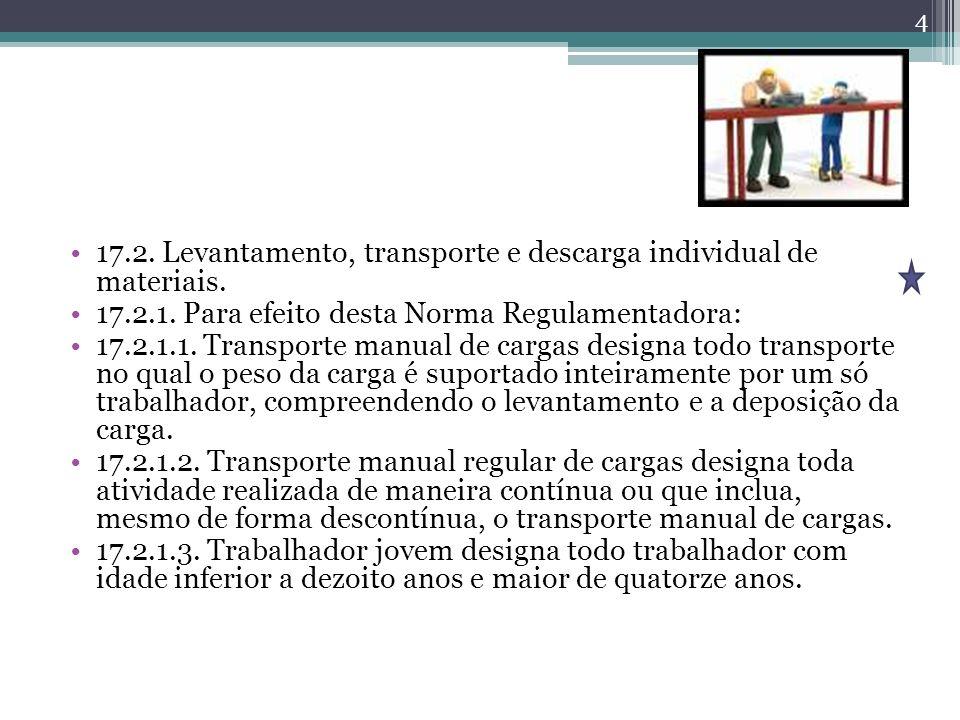 17.2. Levantamento, transporte e descarga individual de materiais.
