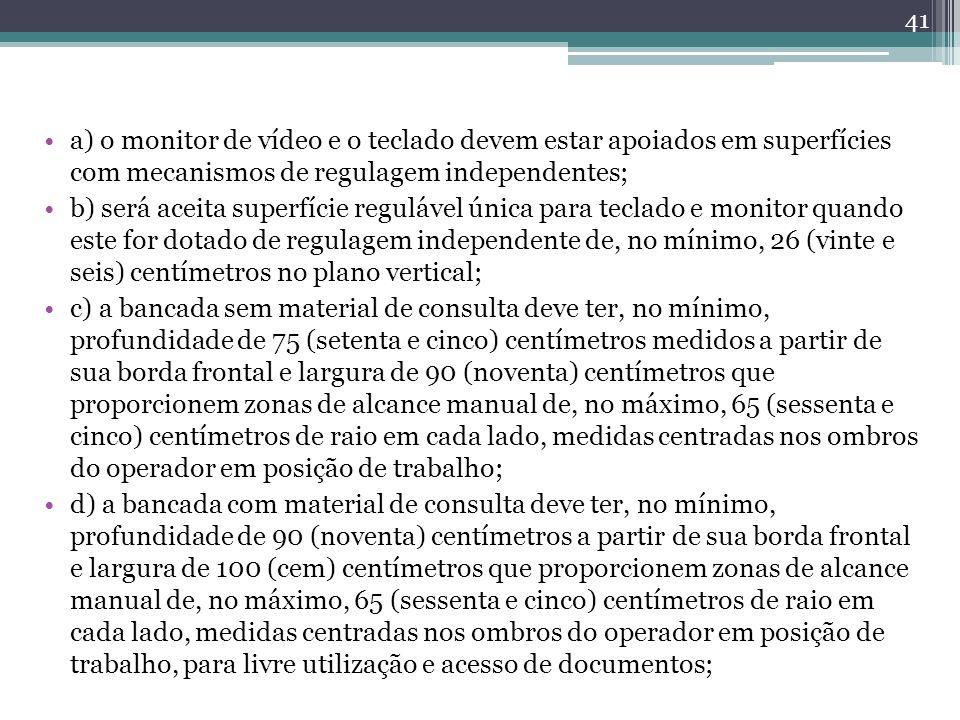 a) o monitor de vídeo e o teclado devem estar apoiados em superfícies com mecanismos de regulagem independentes;