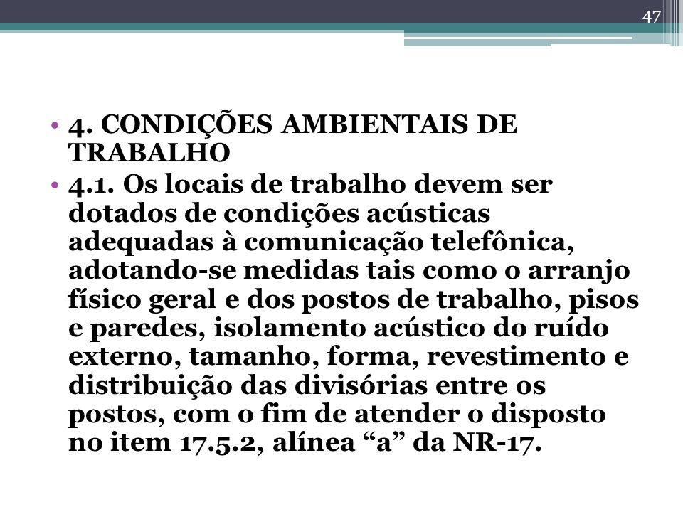 4. CONDIÇÕES AMBIENTAIS DE TRABALHO