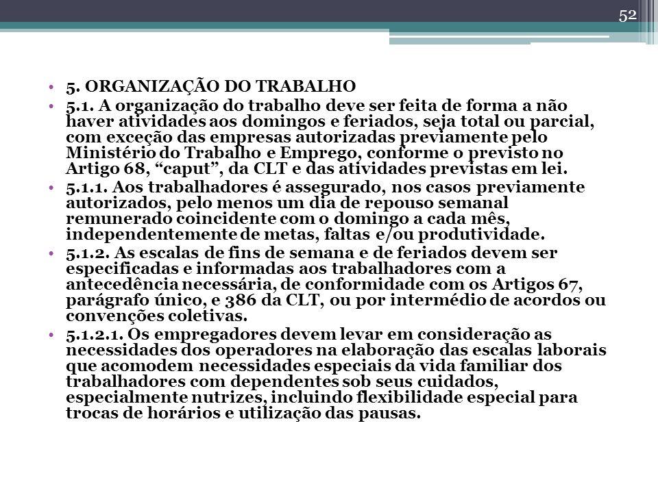 5. ORGANIZAÇÃO DO TRABALHO