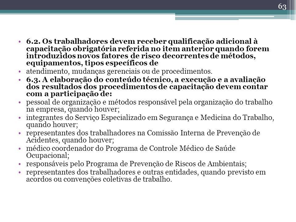 6.2. Os trabalhadores devem receber qualificação adicional à capacitação obrigatória referida no item anterior quando forem introduzidos novos fatores de risco decorrentes de métodos, equipamentos, tipos específicos de