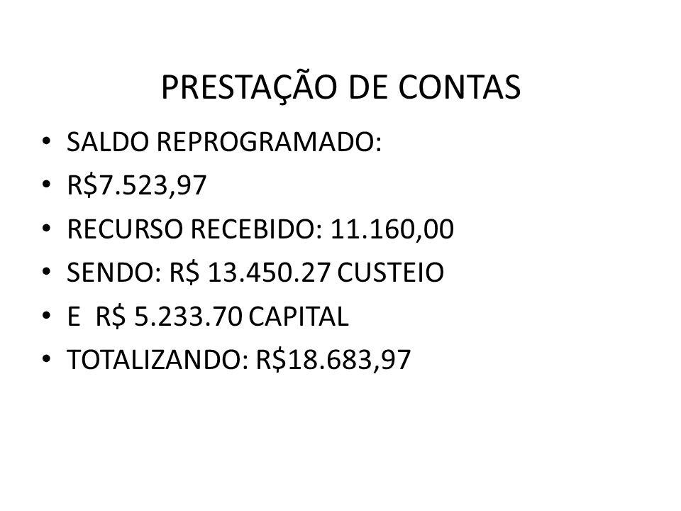 PRESTAÇÃO DE CONTAS SALDO REPROGRAMADO: R$7.523,97