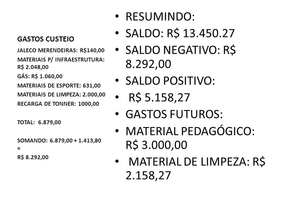 MATERIAL PEDAGÓGICO: R$ 3.000,00 MATERIAL DE LIMPEZA: R$ 2.158,27