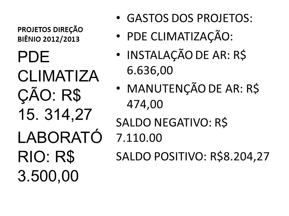 PROJETOS DIREÇÃO BIÊNIO 2012/2013