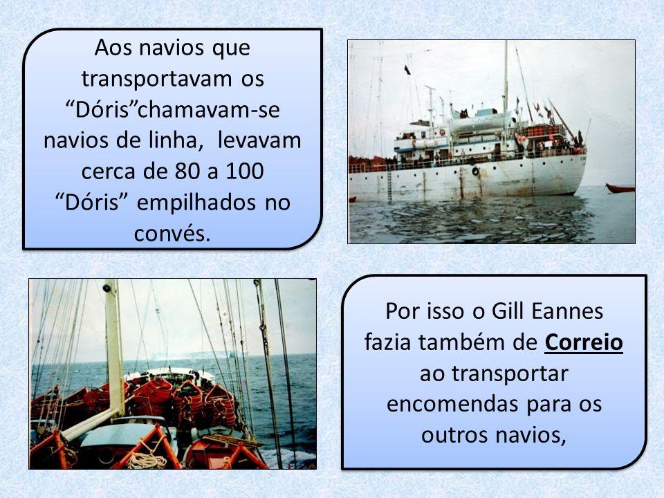 Aos navios que transportavam os Dóris chamavam-se navios de linha, levavam cerca de 80 a 100 Dóris empilhados no convés.