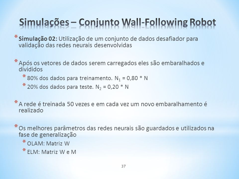 Simulações – Conjunto Wall-Following Robot