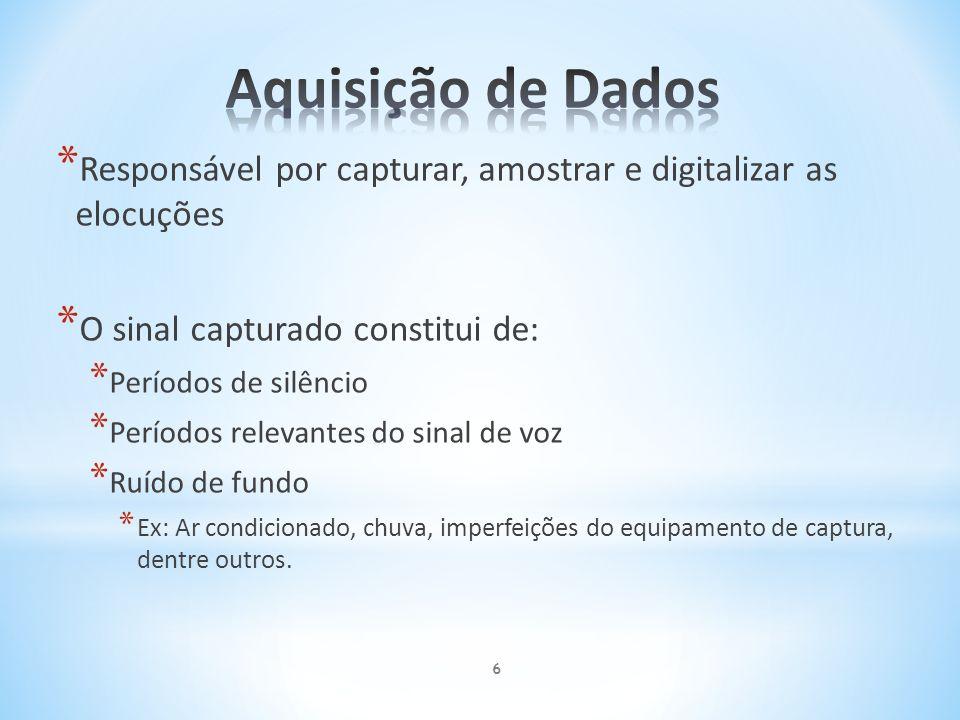 Aquisição de Dados Responsável por capturar, amostrar e digitalizar as elocuções. O sinal capturado constitui de: