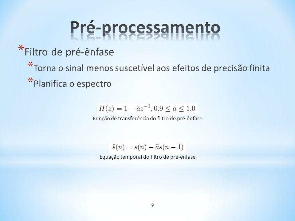 Pré-processamento Filtro de pré-ênfase