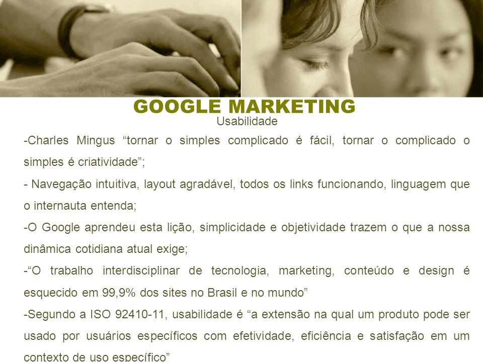 GOOGLE MARKETING Usabilidade