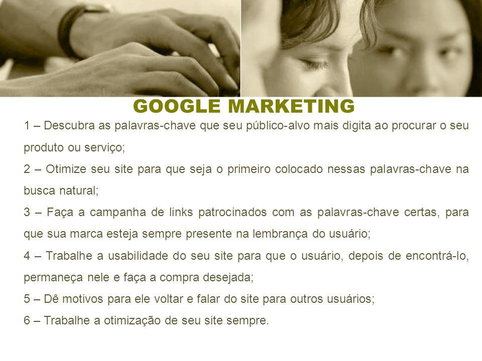 GOOGLE MARKETING 1 – Descubra as palavras-chave que seu público-alvo mais digita ao procurar o seu produto ou serviço;