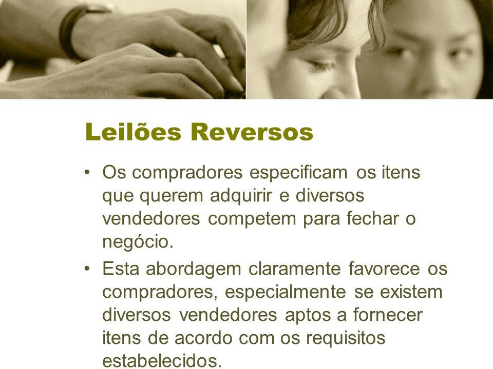 Leilões Reversos Os compradores especificam os itens que querem adquirir e diversos vendedores competem para fechar o negócio.