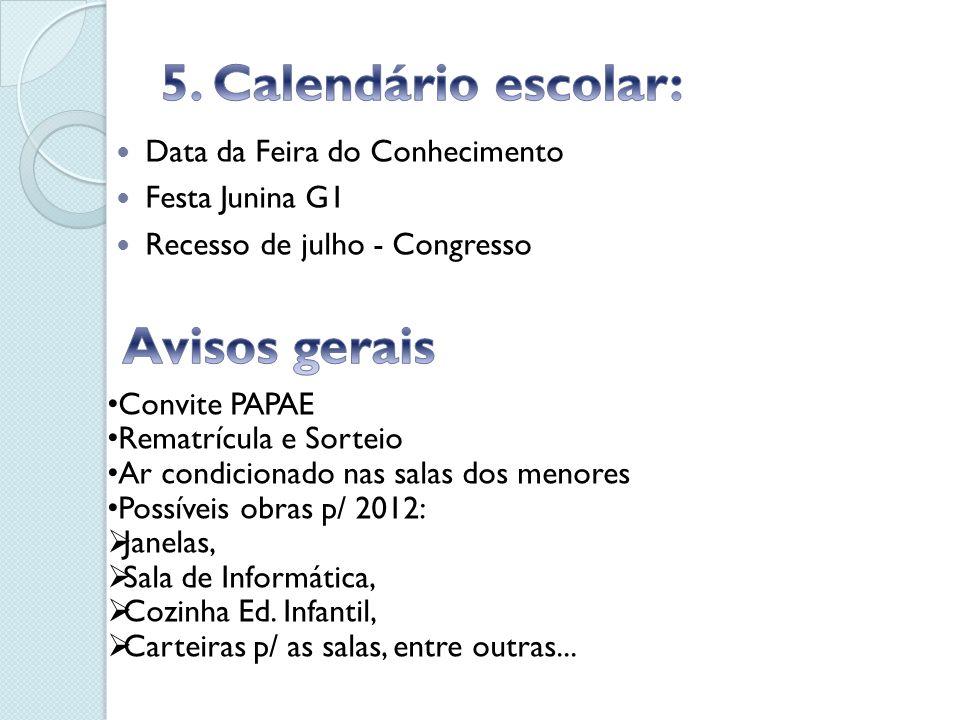 5. Calendário escolar: Avisos gerais Data da Feira do Conhecimento