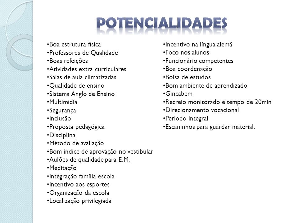 POTENCIALIDADES Boa estrutura física Professores de Qualidade