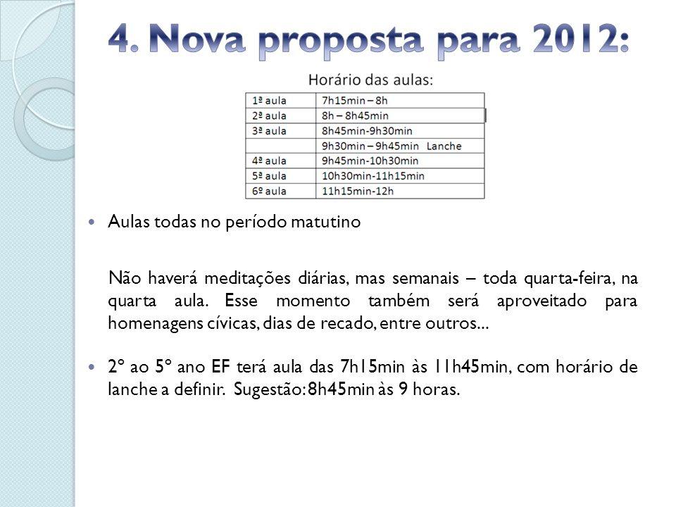 4. Nova proposta para 2012: Aulas todas no período matutino