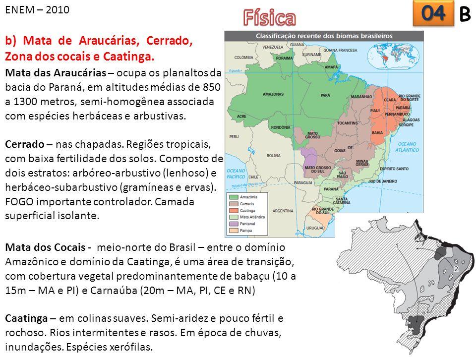 ENEM – 2010 Física. 04. B. b) Mata de Araucárias, Cerrado, Zona dos cocais e Caatinga.