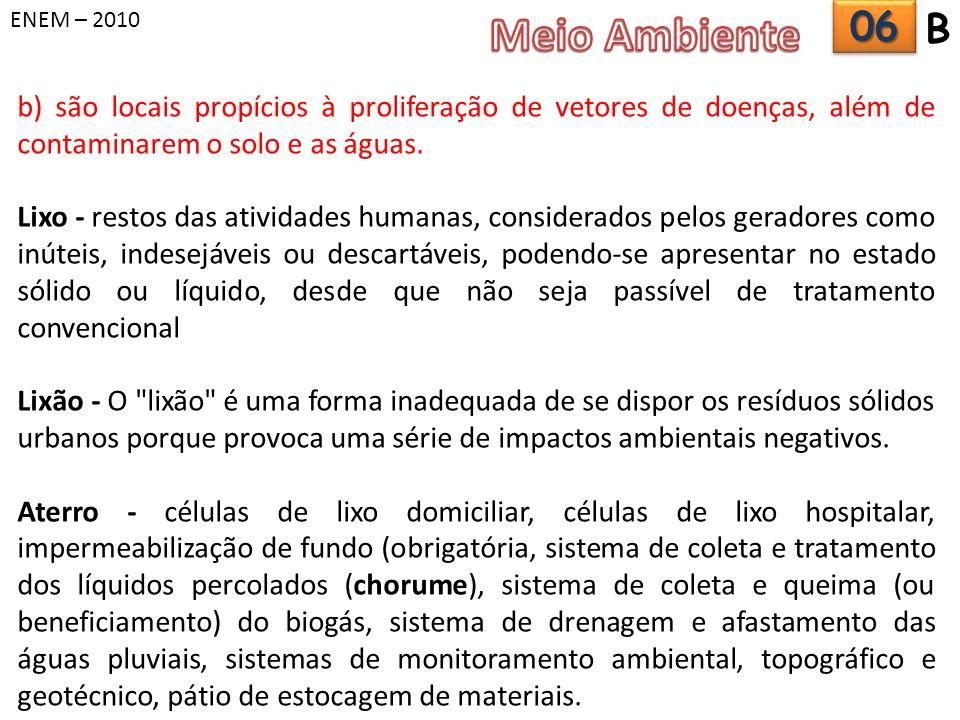 ENEM – 2010 Meio Ambiente. 06. B. b) são locais propícios à proliferação de vetores de doenças, além de contaminarem o solo e as águas.