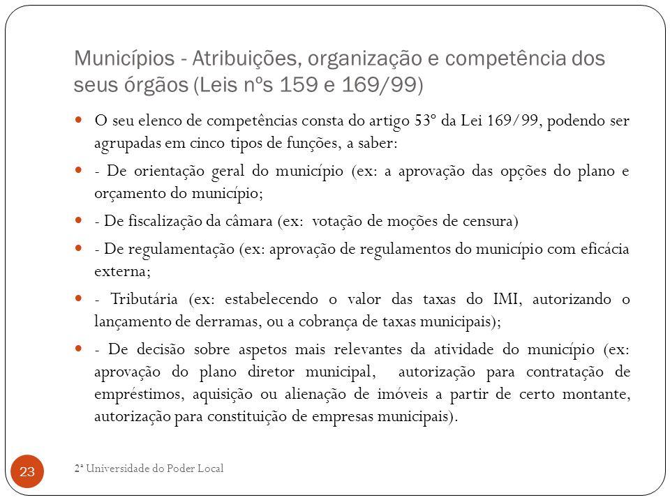 Municípios - Atribuições, organização e competência dos seus órgãos (Leis nºs 159 e 169/99)