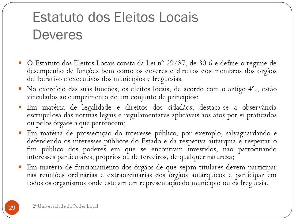 Estatuto dos Eleitos Locais Deveres