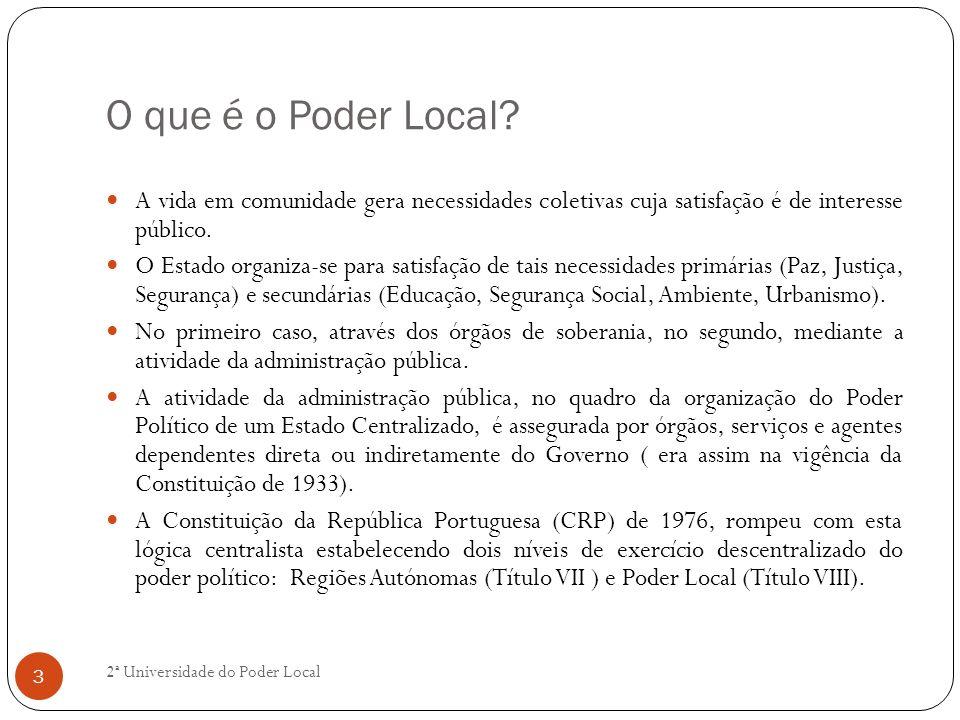 O que é o Poder Local A vida em comunidade gera necessidades coletivas cuja satisfação é de interesse público.