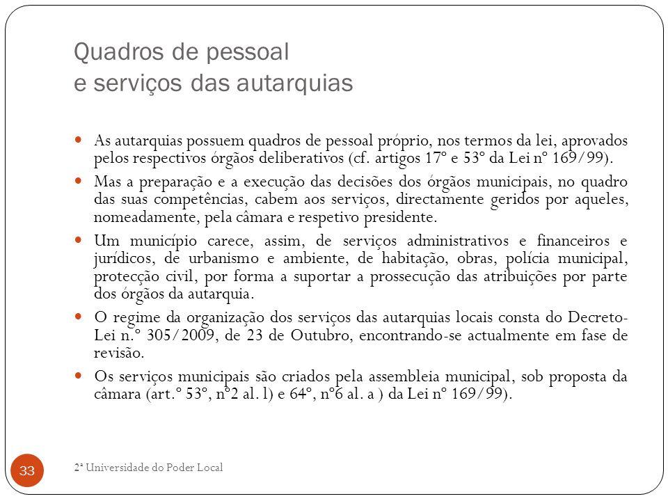 Quadros de pessoal e serviços das autarquias