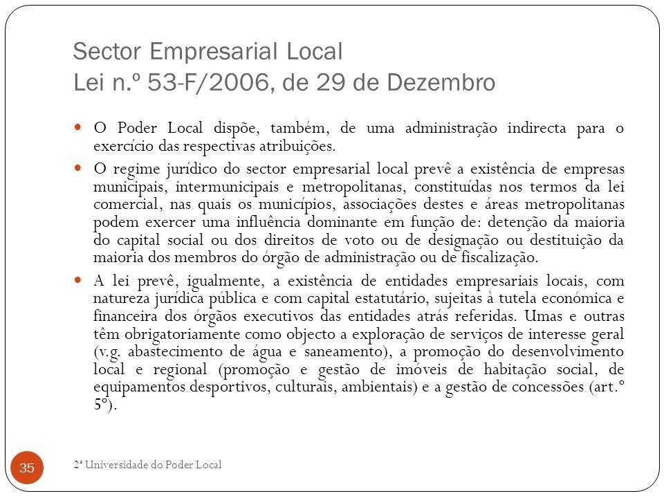 Sector Empresarial Local Lei n.º 53-F/2006, de 29 de Dezembro