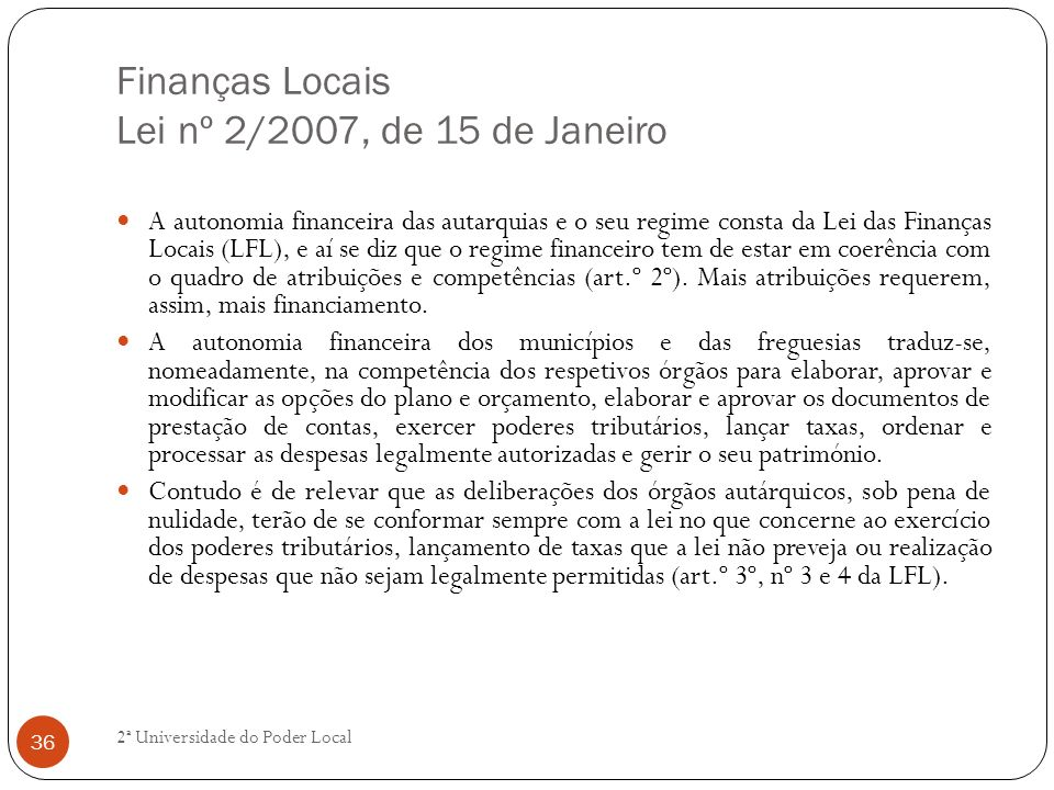 Finanças Locais Lei nº 2/2007, de 15 de Janeiro
