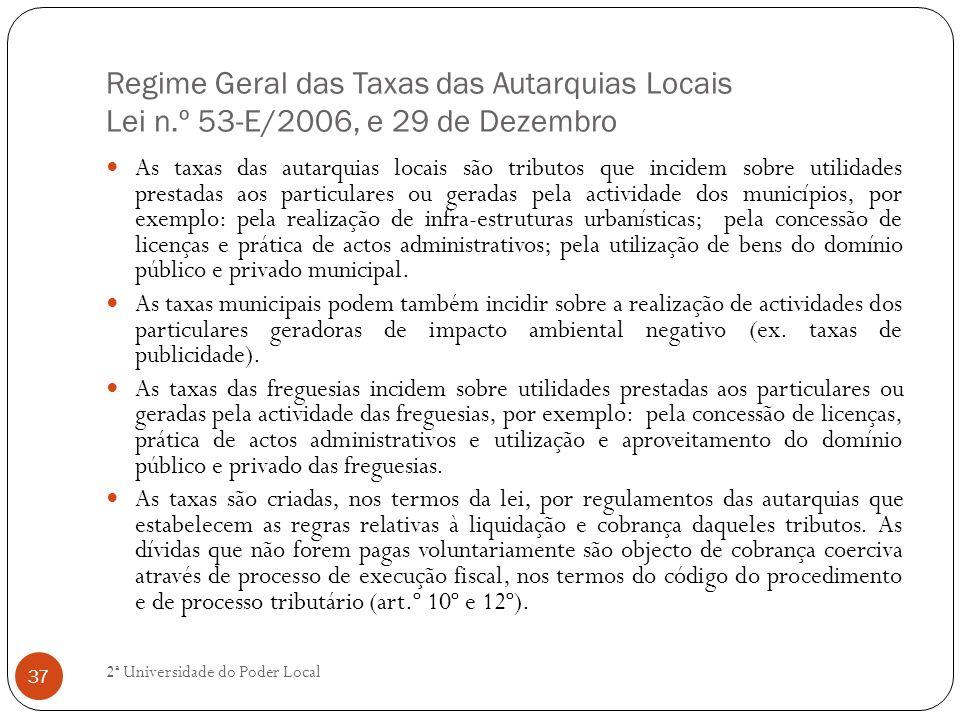 Regime Geral das Taxas das Autarquias Locais Lei n