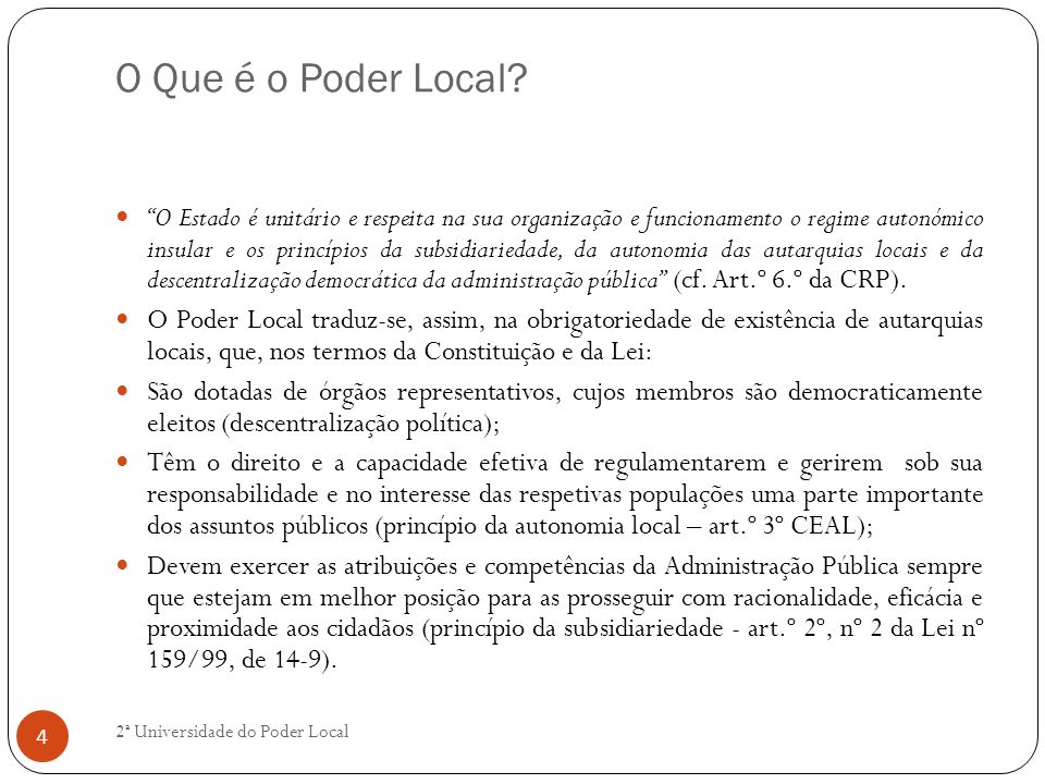 O Que é o Poder Local