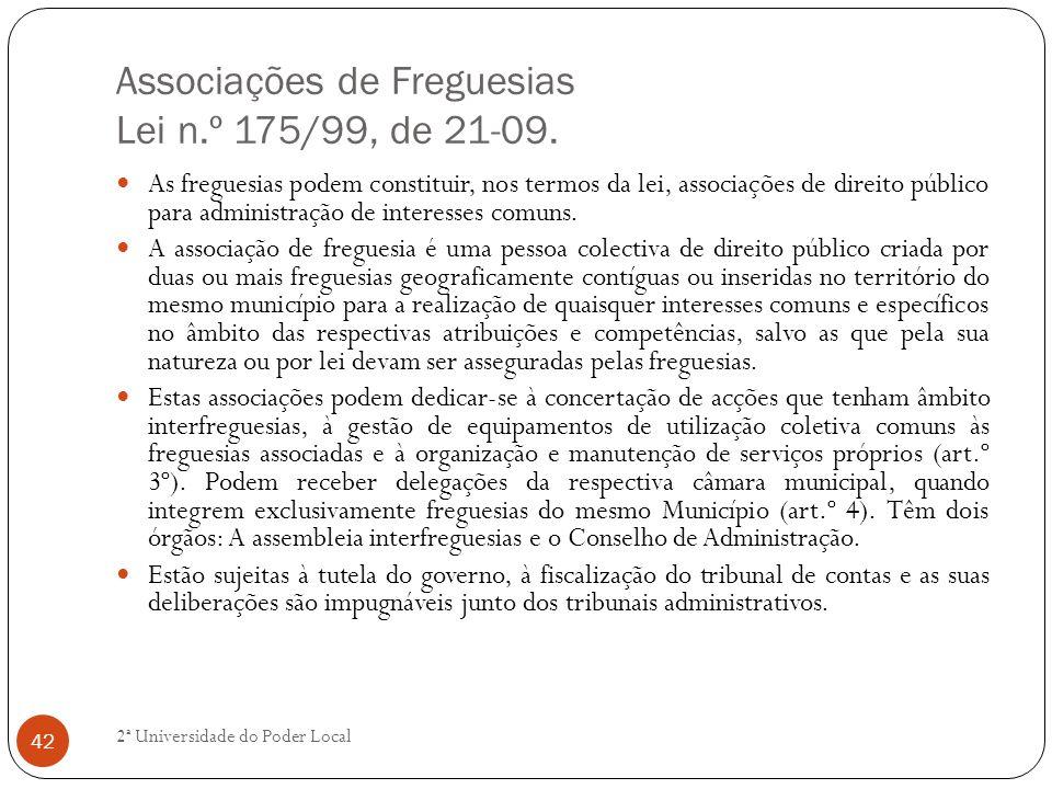 Associações de Freguesias Lei n.º 175/99, de 21-09.