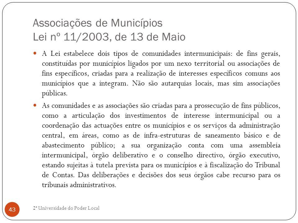 Associações de Municípios Lei nº 11/2003, de 13 de Maio