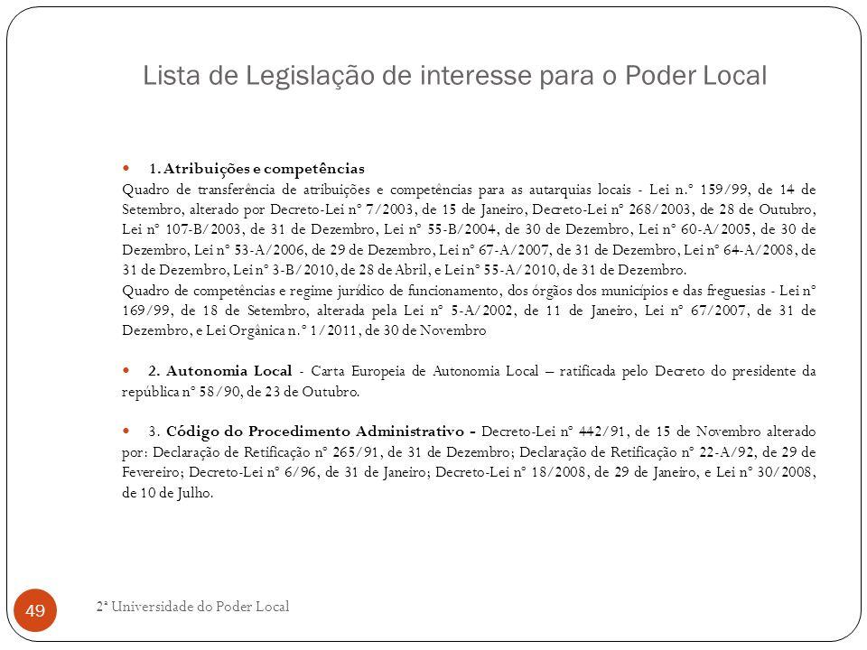 Lista de Legislação de interesse para o Poder Local