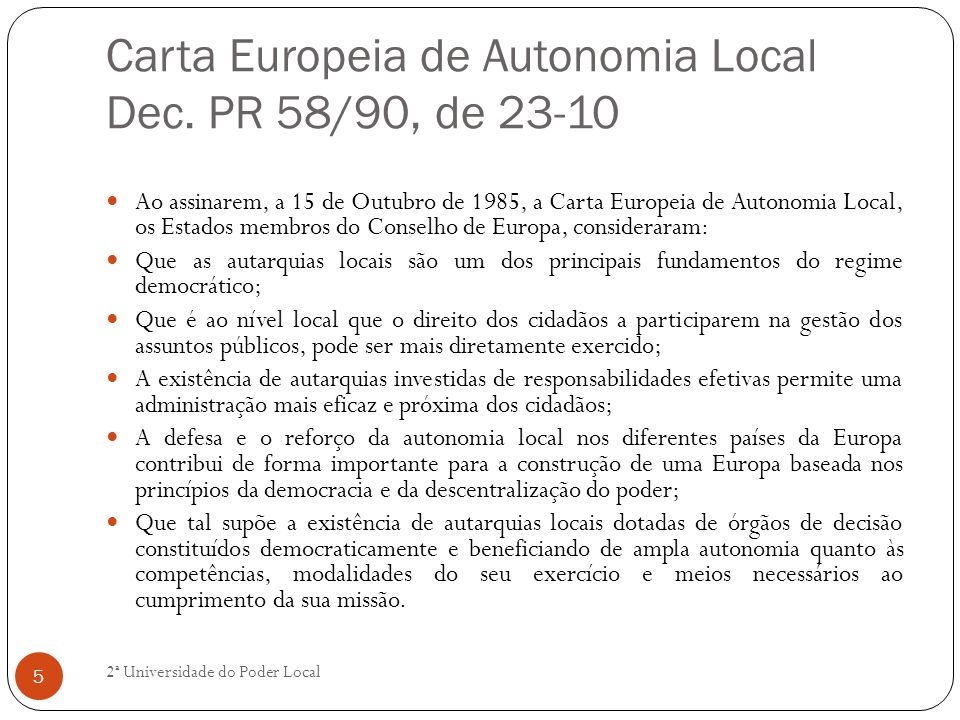 Carta Europeia de Autonomia Local Dec. PR 58/90, de 23-10