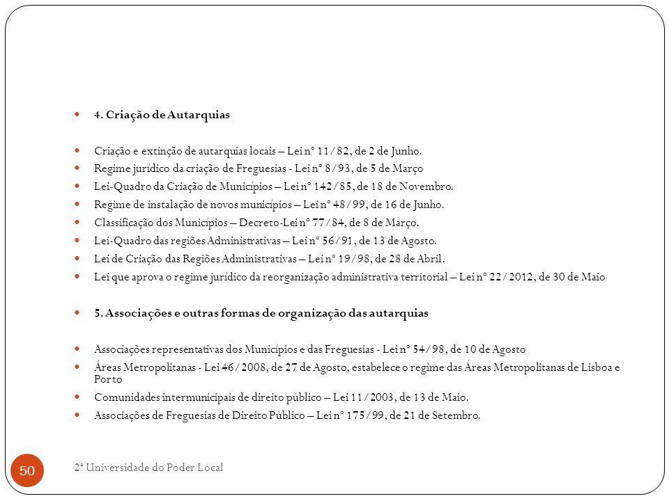 4. Criação de Autarquias Criação e extinção de autarquias locais – Lei nº 11/82, de 2 de Junho.