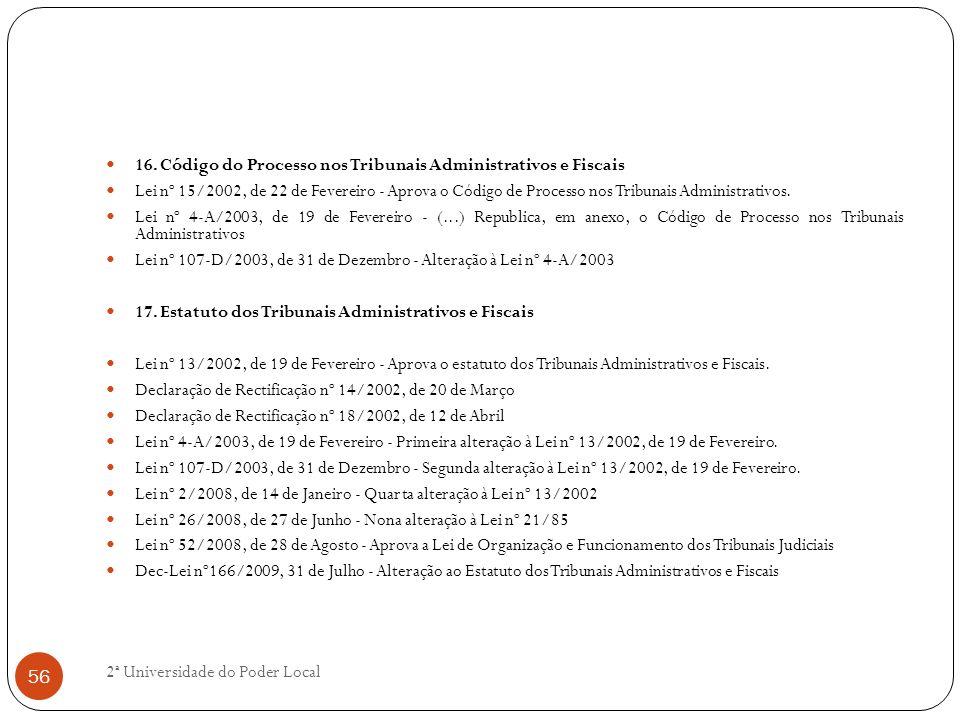 16. Código do Processo nos Tribunais Administrativos e Fiscais
