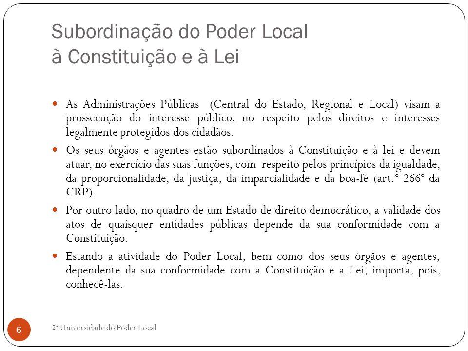 Subordinação do Poder Local à Constituição e à Lei