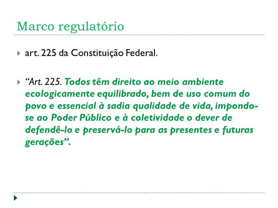 Marco regulatório art. 225 da Constituição Federal.