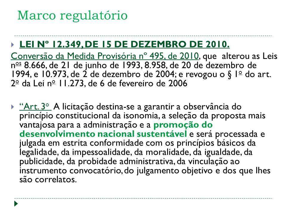 Marco regulatório LEI Nº 12.349, DE 15 DE DEZEMBRO DE 2010.