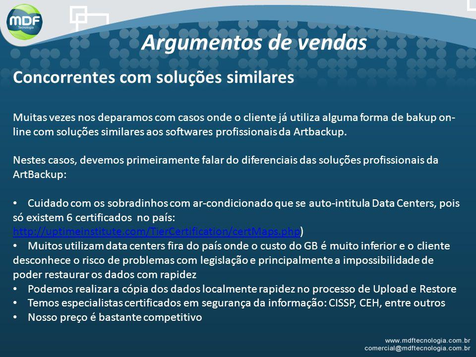 Argumentos de vendas Concorrentes com soluções similares