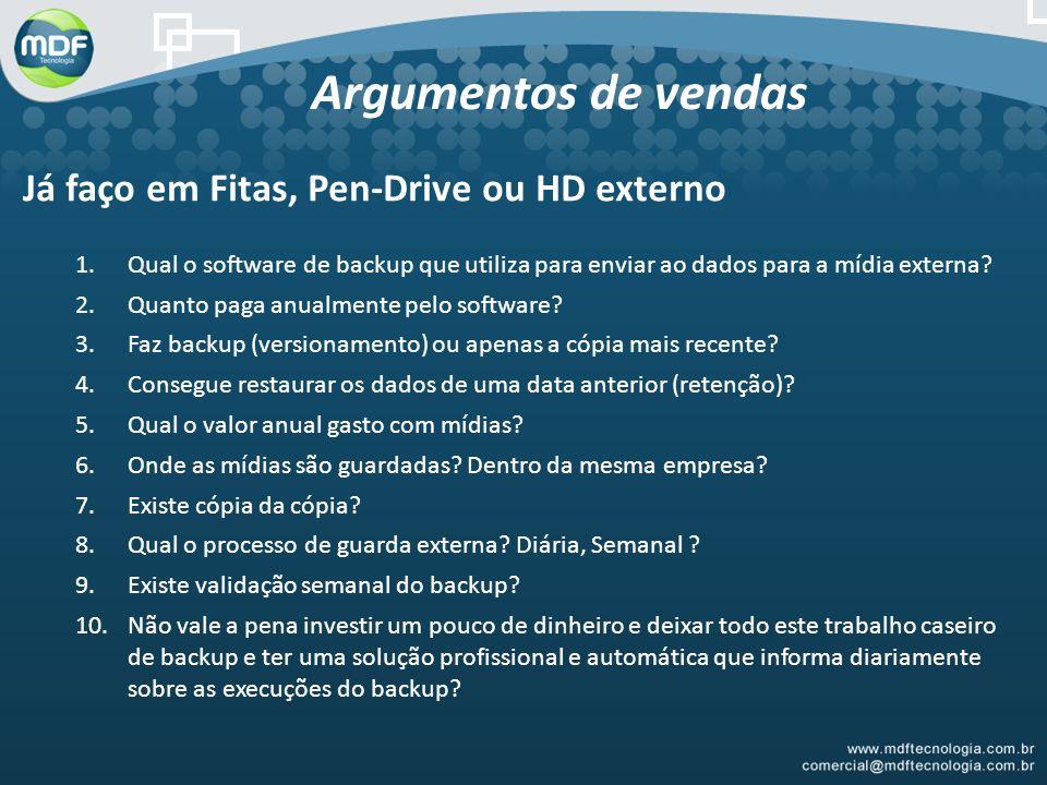 Argumentos de vendas Já faço em Fitas, Pen-Drive ou HD externo